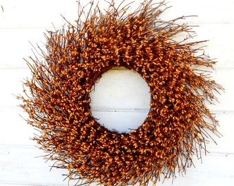 FALL WREATH-Mustard TWIG Door Wreath-Fall Twig Wreath-Rustic Wreath-Autumn Berry Wreath-Fall Home Decor-Front Door Decor-Choose Scent