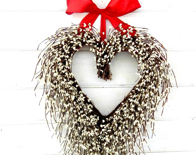 Featured listing image: Valentines Day Wreath-Valentine Day Decor-Valentine Door Wreath-Summer Wedding-Anniversary Gift-White Heart Wreath-Rustic Wedding Decor-Gift