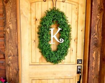Monogram BOXWOOD Wreath-Fall Wreath-Winter Wreath-Initial Wreath-OVAL Boxwood Door Wreath-Christmas Wreath-Christmas Gift-Scented Wreath-