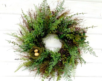 Spring Wreath-Spring Home Decor-FERN Wreath-Summer Wreath-Housewarming Gift-Year Round Wreath-Farmhouse Decor-Outdoor Wreath-Scented Wreath