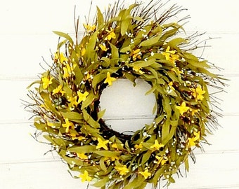 Spring Wreath-Summer Wreath-Spring Decor-Rustic Twig Wreath-Country Farmhouse Decor-Wreaths-YELLOW Wreath-Scented Wreath-Housewarming Gift