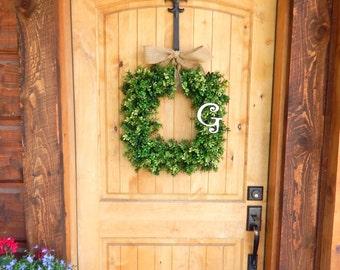 MONOGRAM Wreath-Boxwood Wreath-Square Wreath-BOXWOOD Decor-Door Wreath-Housewarming Gift-Summer Wreath-Fall Wreaths-Winter Wreath-Gifts