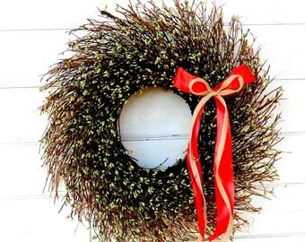 CHRISTMAS WREATH-Winter Wreath-Green TWIG Door Wreath-Rustic Wreath-Holiday Home Decor-Christmas Door Wreath-Winter Door Decor-Choose Scent