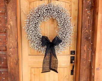 Spring Wreath-White Door Wreath-EXTRA FULL-LARGE Bright White Wreath-Large Wreath-Wreath for Mantle-Vintage Wedding Wreath-Wedding Decor