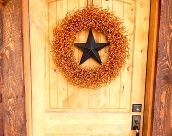 Fall Door Wreath-Large Orange & Black BARN STAR Wreath-Fall Decor-Rustic Primitive Country Home Decor-Halloween Wreath-Holiday Home Decor-