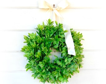 MINI Wreath-Window Wreath-Farmhouse Decor-Country Cottage Wreath-Lemon Leaf Wreath-Outdoor Wreath-Artifical Greenery Wreath-Wall Decor-Gift