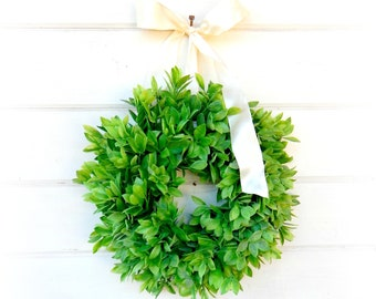 Farmhouse Decor-MINI Wreath-Window Wreath-Country Cottage Wreath-Lemon Leaf Wreath-Outdoor Wreath-Artifical Greenery Wreath-Wall Decor-Gift