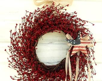 4th of July Wreath-Red Wreath-Summer Wreath-Patriotic Decor-MERICANA DOOR Wreath-Patriotic Wreath-4th of July-Holiday Wreath-Military Decor