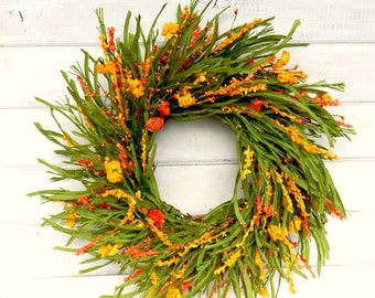 Fall Wreath-Fall Home Decor-Orange & Yellow WILDFLOWER Wreath-Autumn Door Wreath-Housewarming Wreath-Gift for Mom-Scented Door Wreath-Gifts