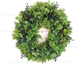 Spring Wreath- Summer Wreath-Wreath for Door-Greenery Wreath-LEMON LEAF & HUCKLEBERRIES-Farmhouse Decor-Scented Wreath-Housewarming Gift