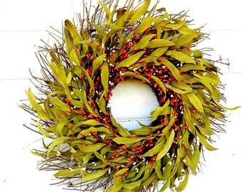 Fall Wreath-Fall Door Wreath-Thanksgiving Wreath-ORANGE Wreath-Rustic Wreath-Fall Home Decor-Greenery Wreath-Door Wreath-Farmhouse Decor