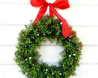 4th of July Wreath-Summer Wreath-Boxwood Wreath-4th of July-Patriotic Door Wreath-Summer Home Decor-Summer Boxwood Wreath-Mililtary Gift