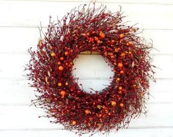 FALL WREATH-Fall Door Wreaths-Fall Home Decor-Autumn Wreath-Thanksgiving Wreath-Rustic TWIG Door Wreath-Fall Wall Hanging-Custom Made Gifts