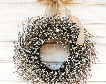 Christmas Wreath-Christmas Decor-Winter Wreath-Holiday Wreath-Door Wreath-Year Round Wreath-BURLAP & ANTIQUE WHITE Wreath-Farmhouse Decor