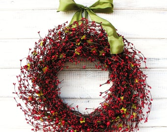 Winter Wreath-Christmas Wreaths-Christmas Door Wreath-RED Berry Wreath-Rustic Farmhouse Decor-Holiday Home Decor- Wreaths-Gift for Mom