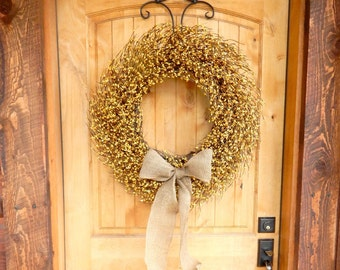 Fall Door Wreath-Fall Wreaths-LARGE BURLAP Wreath-YELLOW Berry Wreath-Summer Wreaths-Fall Home Decor-Thanksgiving Wreath-Custom Made Gifts