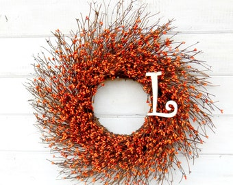 Fall Wreath-MONOGRAM Wreath-Rustic Orange Twig Wreath-ORANGE Berry Wreath-Monogram Door Wreaths-Initial Wreath-Fall Home Decor-Autumn Wreath