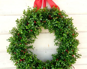 Boxwood Wreath-Christmas Boxwood-Winter Wreath-Christmas Decor-Winter Wreath-Holiday Door Wreath-Outdoor Wreath-Scented Wreaths-Made in USA