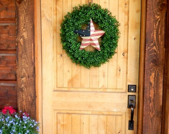 Summer Wreath-Patriotic Door Wreath-Military Wreath-Boxwood Wreath-AMERICANA STAR Wreath-Large Door Wreath-Outdoor Wreath-USA Home Decor