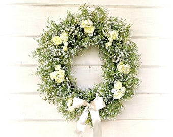 Wedding Decor-Weddings-Baby's Breath Wreath w/ Ranunculus-Weddings-Gypsophila-Cottage Decor-Vintage Farmhouse Wreath-White Wedding Wreath