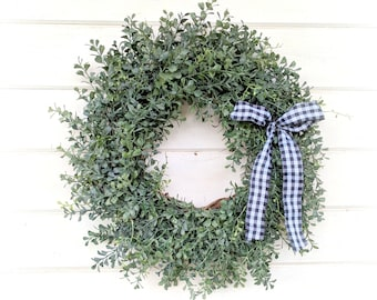 Fall Wreath-Winter Wreath-Farmhouse Wreath-Blue Boxwood Wreath-Door Wreath-Summer Wreaths-Outdoor Wreath-Year Round Wreath-Housewarming Gift