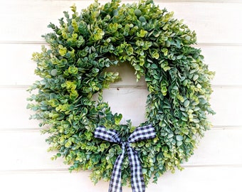 Rustic Farmhouse Decor-Frosted EUCALYPTUS Wreath-Buffalo Plaid-Fall Wreath-Winter Wreath-Door Sign-Wreaths-Farmhouse Decor-Housewarming