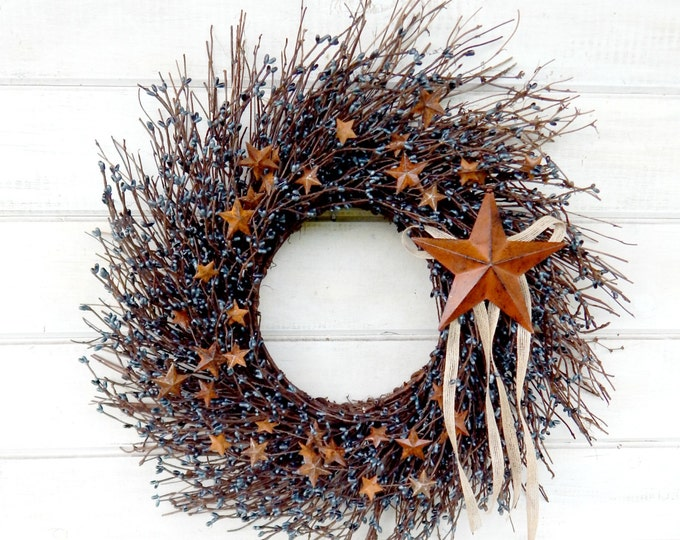 Featured listing image: Summer Wreath-July 4th Wreath-Primitive Country Wreath-Rustic Star Wreath-Primitive Home Decor-Blue Star Wreath-RUSTIC BLUE TWIG Wreath-Gift