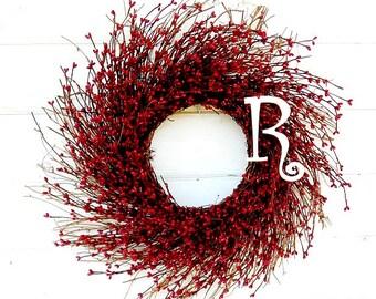 Monogram Wreath-Monogram Door Decor- Winter Door Wreath-Rustic RED Twig Wreath-Monogram Door Wreath-Home Decor-Custom Scented Wreaths-Gifts