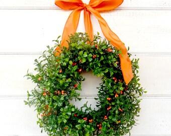 Mini Boxwood Wreath-Mini Wreath-Scented ORANGE Berry Wreath-Country Cottage Wreath-Kitchen Decor-Artifical Boxwood Wreath-Wall Hanging