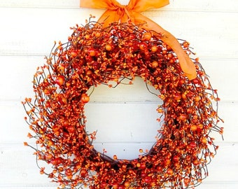 Fall Wreath-Fall Home Decor-PUMPKIN SPICE-Scented Wreath-Thanksgiving Home Decor-ORANGE Door Wreath-Autumn Home Decor-Fall Door Decor-Gifts