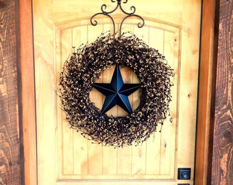 Primitive Rustic Wreath-Rustic Americana Wreath-Star Wreath-Primitive Door Wreath-LARGE BLACK & TAN Star Wreath-Primitive Country Decor