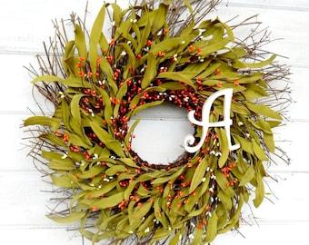 MONOGRAM Wreath-Fall Wreath-Orange TWIG Wreath-Fall Home Decor-Initial Wreath-Personalized Wreath-Monogram Wreaths-Wedding Gift-Wall Hanging