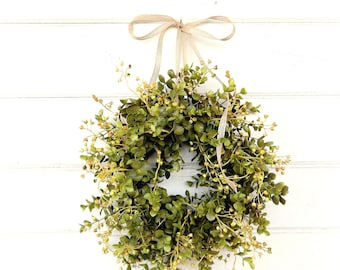 READY to SHIP-Farmhouse Wreath-MINI Window Wreath-Eucalyptus Wreath-Farmhouse Decor-Country Cottage Wreath-Artificial Eucalyptus Wreath-Gift