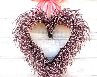 READY to SHIP-Valentine Wreath-Valentines Day Decor-Heart Wreath-Wedding Decorations-Baby Nursery Decor-PINK Heart-Valentine Wreath