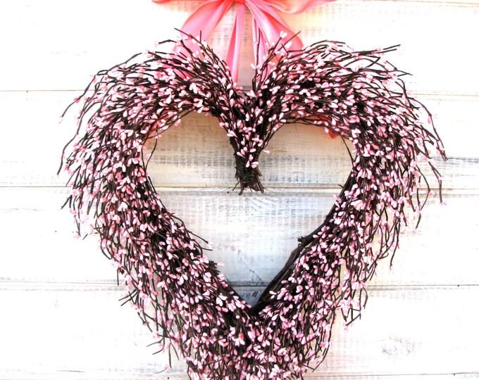Featured listing image: Valentine Wreath-Mothers Day-Wreath-Mothers Day Gift-Valentine Wreath-Heart Wreath-Wedding Decor-Pink Wreath-Wedding Decor-Baby Nursery