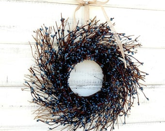 MINI TWIG WREATH-Blue Mini Window Wreath-Farmhouse Decor-Small Wreath-Wall Hanging-Rustic Home Decor-Table Centerpiece-Gift for Mom-Gifts