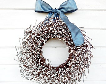 Winter Wreath-Christmas Door Wreath-Holiday Wreath-Winter Wedding Decor-WHITE BERRY Wreath-Rustic Home Decor-Scented Wreath-Gift for Mom