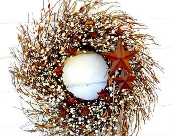 Fall Wreath-Fall Home Decor-RUSTIC Cream & Brown STAR TWIG Wreath-Autumn Wreath-Primitive Wreath-Scented Vanilla Sugar-Choose your Scent