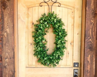 Fall Wreath-Boxwood Wreath-Oval BOXWOOD Wreath-Winter Wreath-Outdoor Wreath-Year Round Wreath-Holiday Home Decor-Scented Wreath-Gift