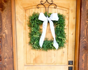 Boxwood Wreath-Square BOXWOOD Wreath-Fall Door Wreath-Summer Wreath-Housewarming Gift-Outdoor Wreath-Scented Wreath-Wedding Gift-Custom Made
