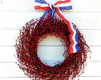 4th of July Wreath-Summer Wreath-Patriotic Wreath-Holiday Decor-SCENTED WREATHS--Red Berry Wreath-July 4th Door Wreath-Holiday Home Decor