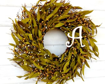 Fall Wreath-MONOGRAM DOOR WREATH-Rustic Twig Door Wreath-Yellow Bay Leaf Wreath-Home Decor-Fall Wreath-Personalized Gift-Custom Wreaths
