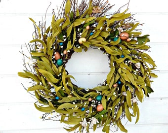 Easter Wreath-Spring Wreath-Easter Home Decor-Spring Door Wreath-Easter Door Decor-Bay Leaf Wreath-Holiday Wreath-Easter Home Decor-Gifts