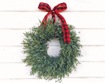 READY to SHIP-MINI Wreath-Window Wreath-Holiday Wreath-Farmhouse Decor-Wreath-Farmhouse Christmas Decor-Holiday Wreath-Buffalo Plaid Wreath