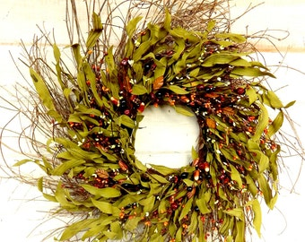 FAll Wreath-LARGE TWIG Door Wreath-Fall Wreaths-Rustic Wreath-Thanksgiving Home Decor-Autumn Door Decor-Fall Home Decor-Custom Made
