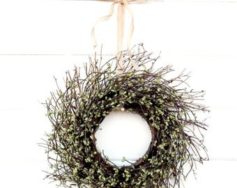 MINI TWIG WREATH-Green Mini Window Wreath-Wall Decor-Fall Wreath-Country Chic Wall Hanging-Rustic Home Decor-Table Centerpiece-Gifts