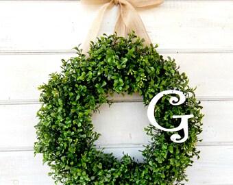 Monogram Wreath-Boxwood Wreath-Winter Wreath-MONOGRAM Door Wreath-Wedding Wreath-Front Door Decor Gift for Mom-Housewarming-Wedding Gift