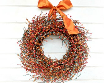 Fall Wreath-Fall Decor-Door Wreaths-Rustic Farmhouse Decor-Orange & Teal Wreath-Front Door Decor-Rustic Home Decor-Thanksgiving Wreath-Gifts
