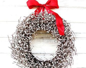 Valentines Day Wreath-Winter Wreath-Valentines Wreath-Winter Decor-Scented Wreath-WHITE BERRY Wreath-4th of July Decor-Summer Wreath-Gifts