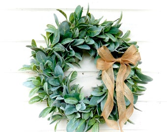 Lambs Ear Wreath-Farmhouse Wreath-NEW 2018 -Year Round Wreath-Farmhouse Decor-Housewarming Gift-Greenery Wreath-Door Wreath-Home Decor